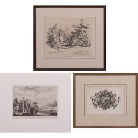Johann Esaias Nilson-William Hogarth-A Group of Three Engravings (Including 'The Tankard'; engraving of the 'Ruines du Temple de Serapis a Pouzzols'.)-