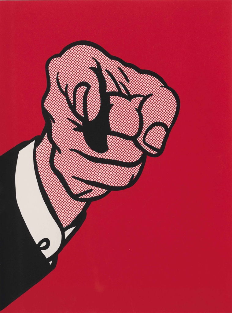 Roy Lichtenstein-Finger Pointing, from: The New York Collection for Stockholm portfolio (Corlett 126)-1973