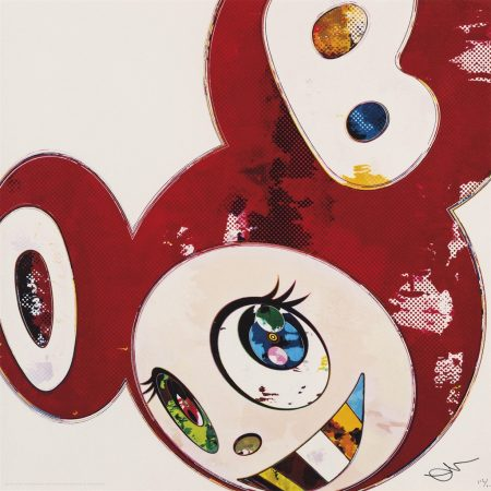 Takashi Murakami-(i) And Then x 6 (Red: The Superflat Method); (ii) And Then x 6 (Blue: The Superflat Method) (iii) One plate, from: Flowers Blooming in this World (iv) The Land of Nirvana-2013
