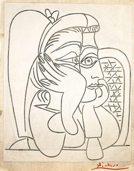 Pablo Picasso-Portrait De Jacqueline Accoudee (Femme Accoudee) (B. 922; Ba. 1240)-1964