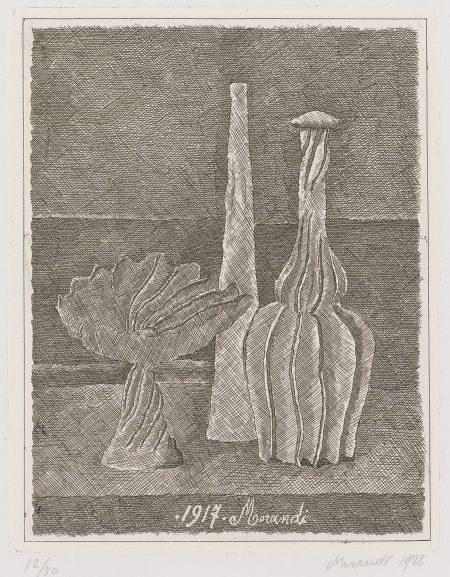Natura Morta Con Compostiera Bottiglia Lunga E Bottiglia Scannellata(V. 50)-1928