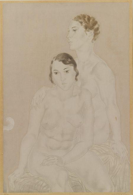 Tsuguharu Foujita-Femmes: [Two Seated Nudes]-1930