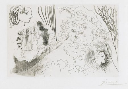 Pablo Picasso-Feuille D'Etudes. Profils De Marie-Therese Et Tete De Rembrandt Au Beret (B. 207; Ba. 405)-1934