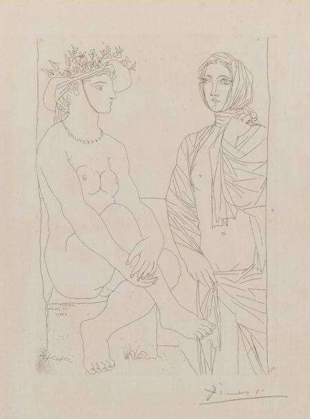 Pablo Picasso-Au Bain. Femme AuChapeau A Fleurs Et Femme Drapee Dans Une Serviette(B. 210; Ba. 408)-1934
