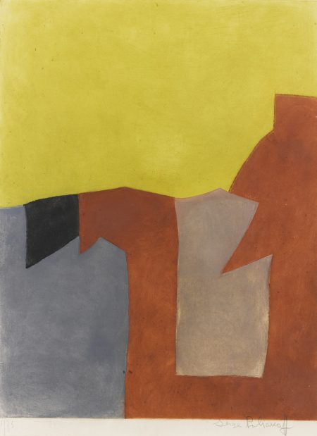Serge Poliakoff-Composition Grise Brune Et Jaune (Riviere Ix)-1962
