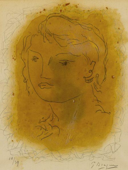 Georges Braque-Tete De Jeune Fille (Vallier 68)-1951