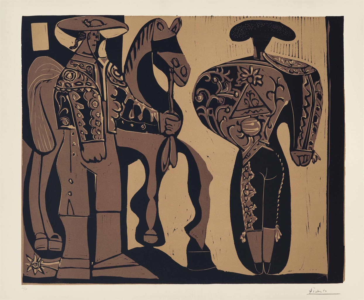 Pablo Picasso-Picador et Torero Attendant le Paseo de Cuadrillas-1959