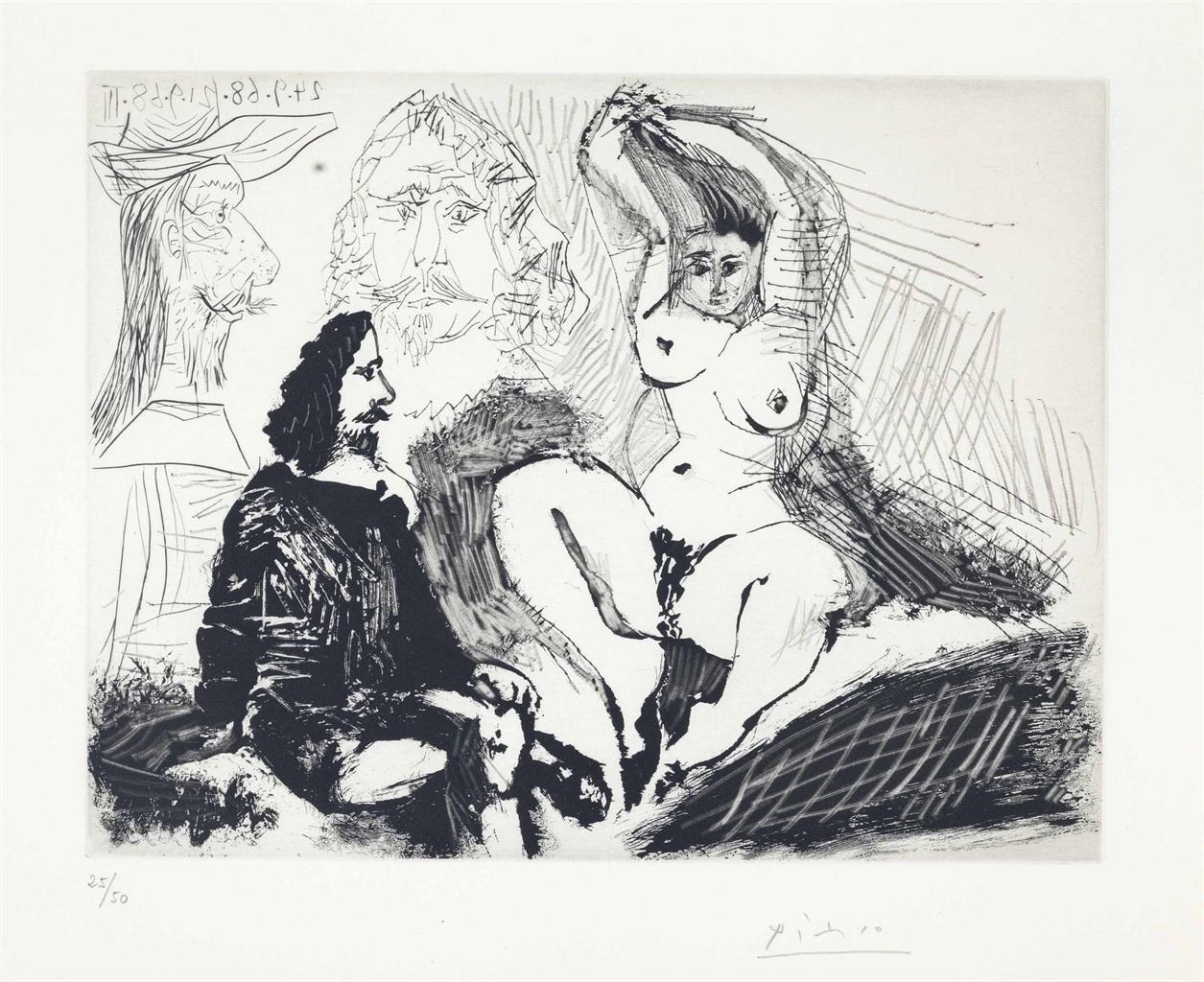Pablo Picasso-Homme assis aupres d'une Femme se coiffant, from La Serie 347-1968