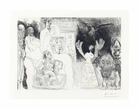 Pablo Picasso-Autoportrait dedouble, Maja au Pigeon, Demenageur avec Femme et Sculpture, Hercule de Foire vieillissant, Pere de l'Artiste, avec Baigneuse Ingresque au fond, from Series 156-1970