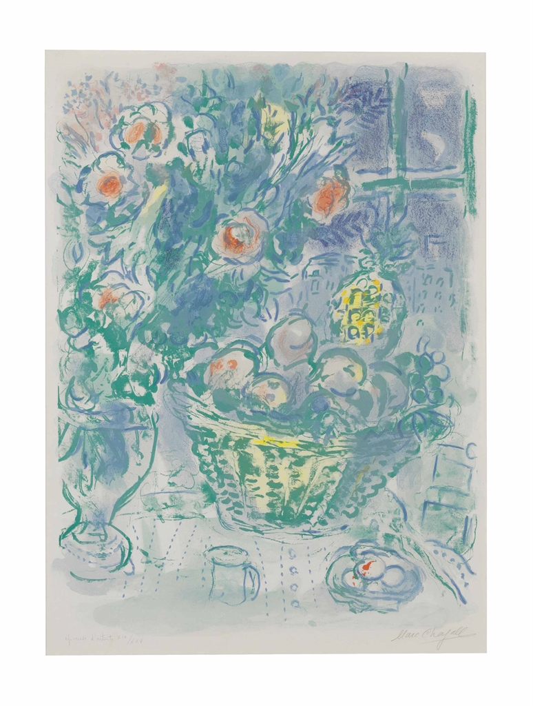 Marc Chagall-Corbeille de Fruits et Ananas-1964