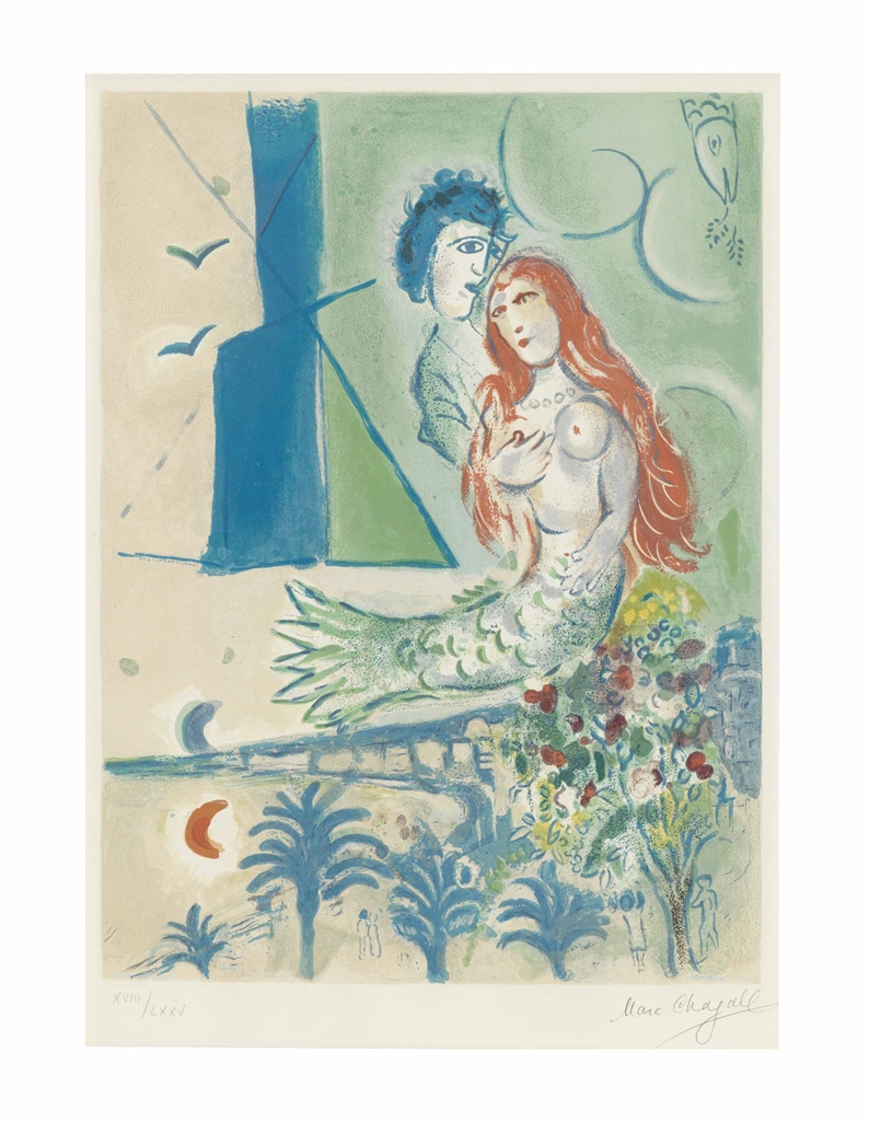 After Marc Chagall - Sirene with Poet, from Nice and the Cote d'Azur-1967