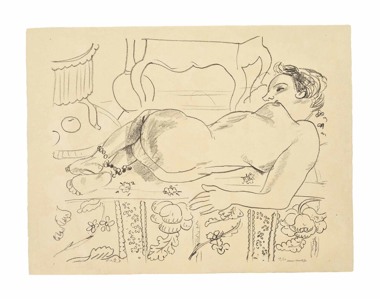 Henri Matisse-Nu couche sur sol fleuri-1929