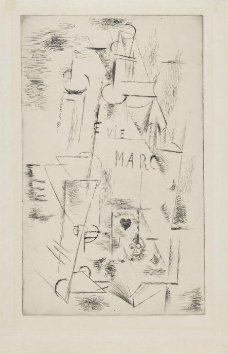 Pablo Picasso-Nature morte a la Bouteille de Marc-1911