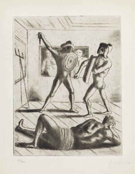 Giorgio de Chirico-Scuola di gladiatori I, from Jean Cocteau Le mystere laic-1928