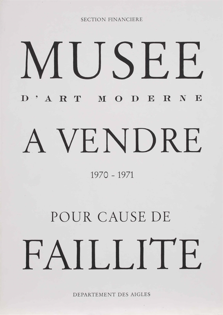 Musee d'art Moderne a vendre - pour cause de faillite (Museum of Modern Art for sale - for Reason of Bankruptcy)-1971