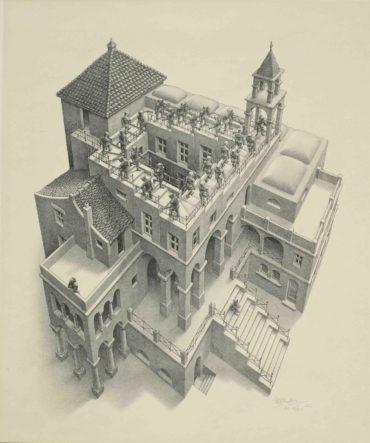 Maurits Cornelis Escher-Ascending and Descending (Bool 435)-1960