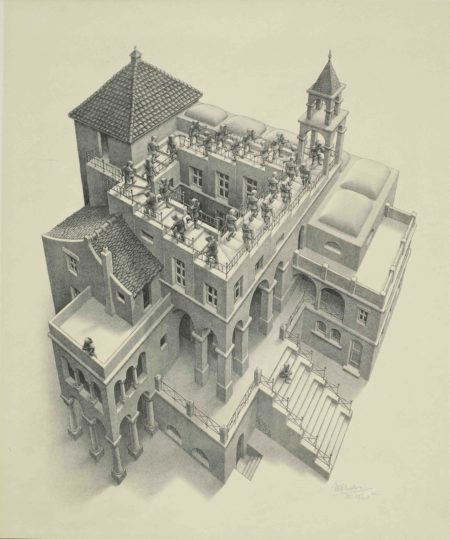 Maurits Cornelis Escher-Ascending and Descending (Bool 435)-1960