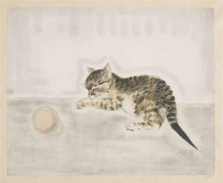 Tsuguharu Foujita-Cat with a Ball, from Les Chats (Buisson 29.200.8)-1930