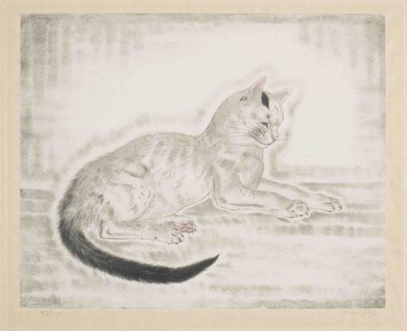 White cat with black tail, from Les Chats (Buisson 29.200.5)-1930