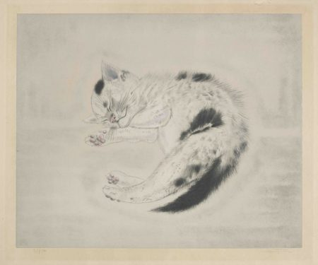 Tsuguharu Foujita-Sleeping Cat, from Les Chats (Buisson 29.200.10)-1930