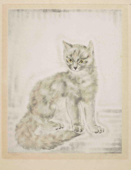 Tsuguharu Foujita-Staring Cat, from Les Chats (Buisson 29.200.9)-1930