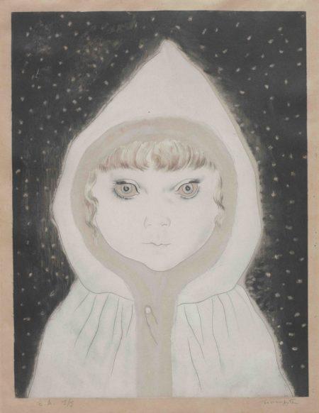 Tsuguharu Foujita-Petite Fille au Capuchon sous la neige, from Les Enfants (Buisson 29.201.1)-1929