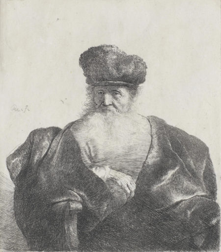 Rembrandt van Rijn-Old Man with Beard, Fur Cap and Velvet Cloak (Bartsch 262; New Hollstein 92)-1631
