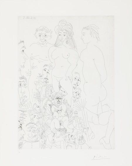 Pablo Picasso-Orgie chez les Filles, avec spectateurs tires de l'enterrement du Comte Orgaz, from La Serie 347 (Bloch 1633; Baer 1649.Bb1)-1968