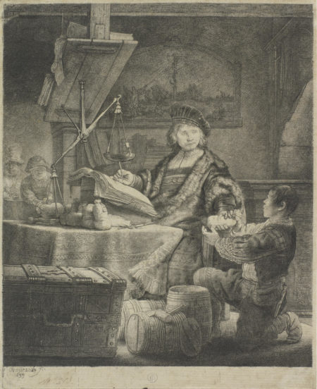 Rembrandt van Rijn-Jan Uytenbogaert 'The Goldweigher' (Bartsch 281; New Hollstein 172)-1639