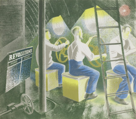 Eric William Ravilious-Diving Controls I, from Submarines-1941