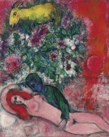 Marc Chagall-Nu rose ou Amoureux en rose-1949