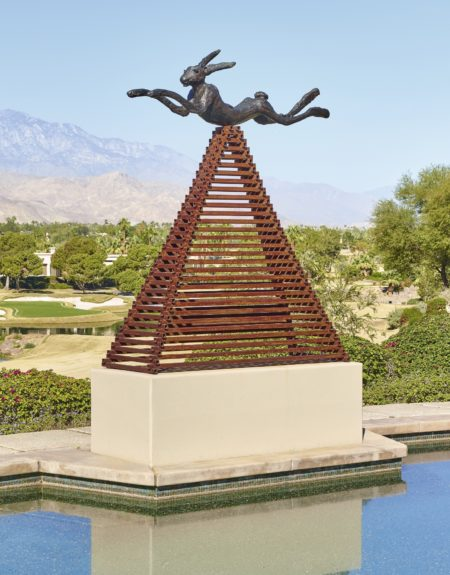 Barry Flanagan-Six Foot Leaping Hare On Steel Pyramid -1990