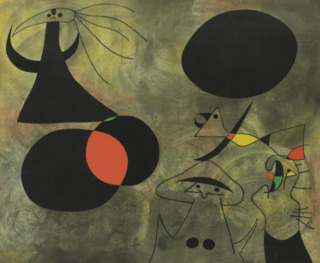 After Joan Miro - Le Lever du soleil, from 'Constellations'-1959