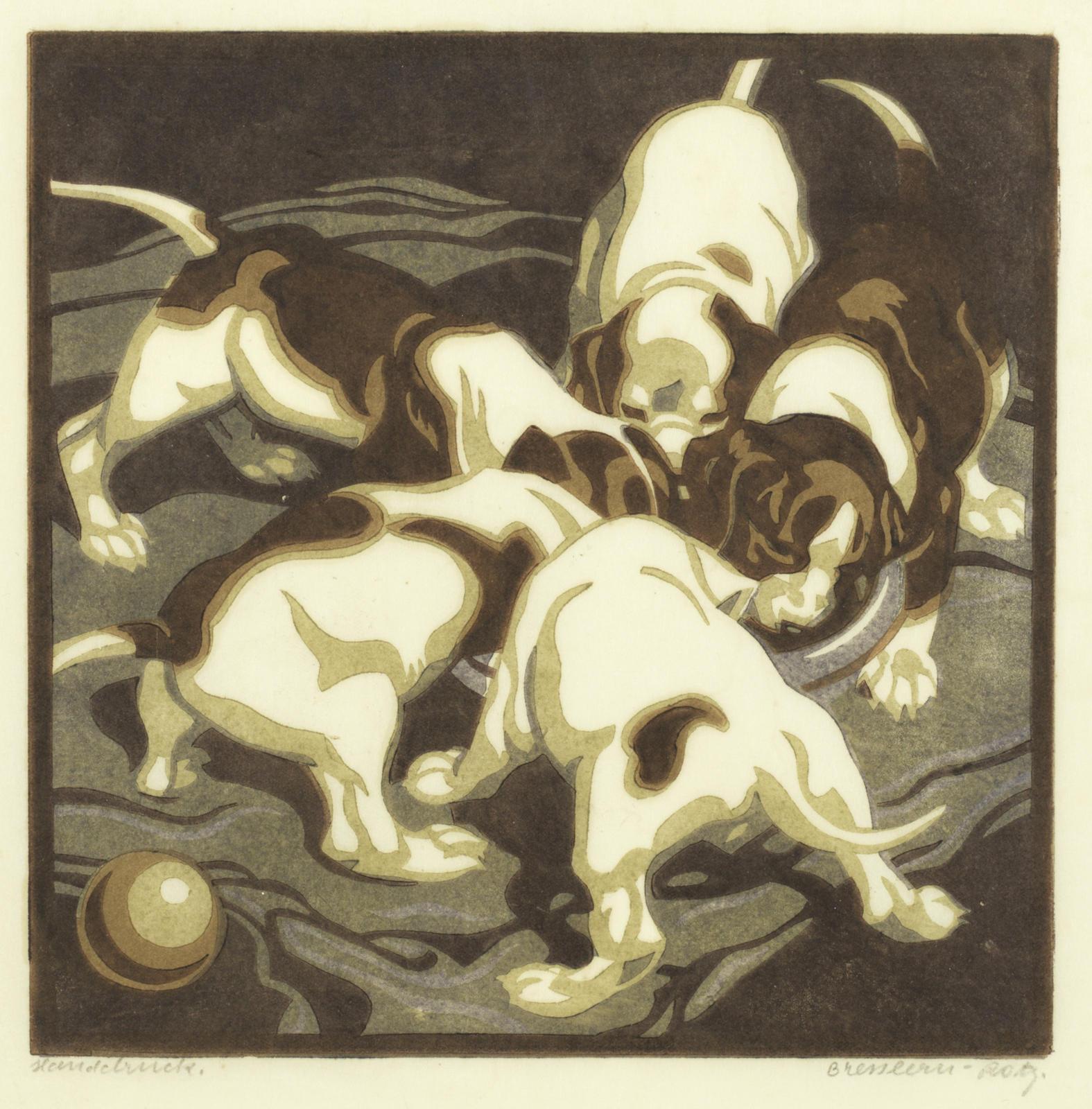 Norbertine von Bresslern-Roth-Junge Hunde; Ruhende Kamele & Hirte mit Schafherde-