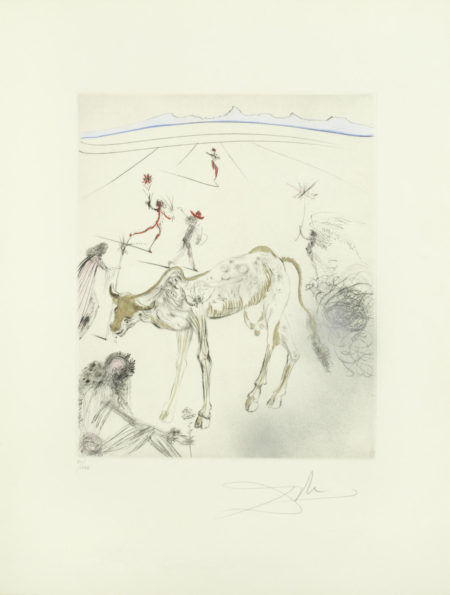 Salvador Dali-The Sacred Cow, from 'Hippies' (M. & L. 383)-1970
