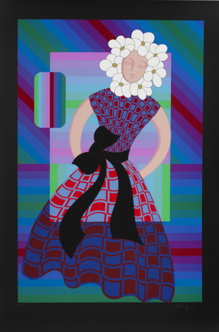 Victor Vasarely-Flower Girl; Gaia II-1986