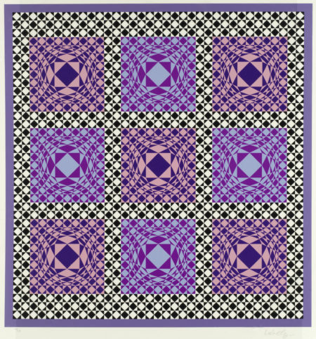 Victor Vasarely-Purple Squares-