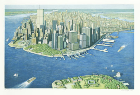 Richard Haas-Manhattan View, Governor's Island; Cities Service Building-1999