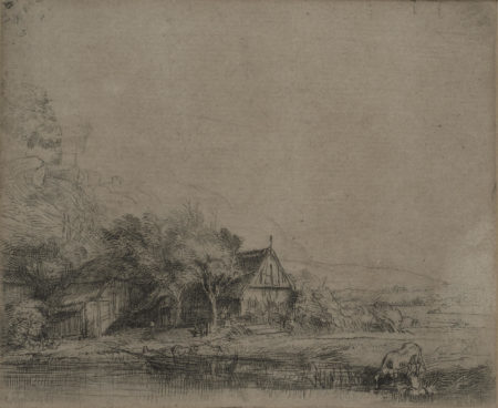 Rembrandt van Rijn-Landscape with a cow drinking (Bartsch 237, New Hollstein 251)-1650