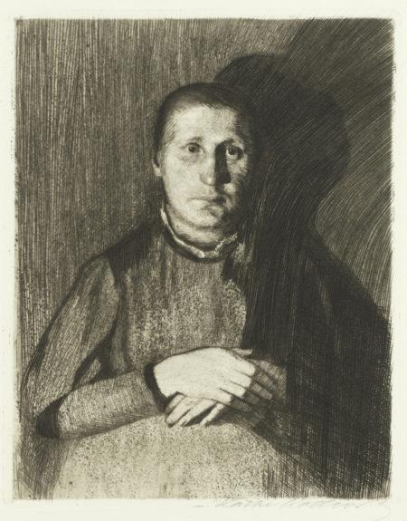Kathe Kollwitz-Frau mit ubereinandergelegten Handen (Klipstein 41/IIIa)-1918