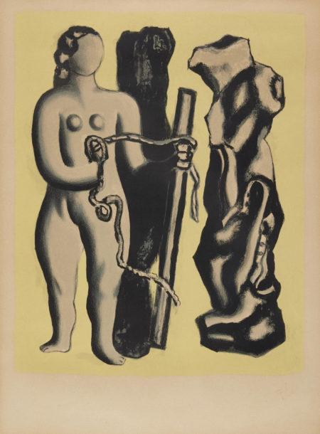 Fernand Leger-Femme sur fond jaune (S. 118)-1952