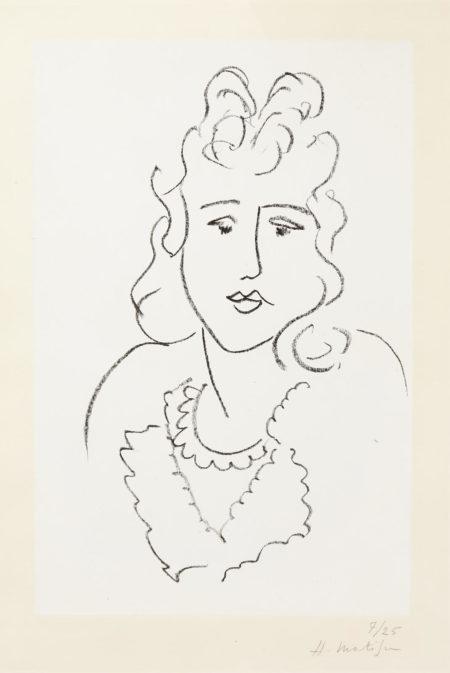 Henri Matisse-Buste de femme, from Poemes de Charles d'Orleans (study)-1943
