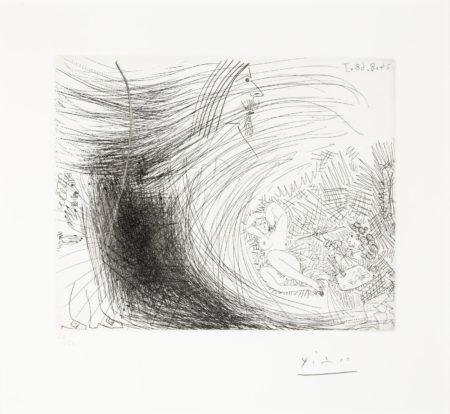 Pablo Picasso-Reve eveille du gentilhomme: surprendre, en voyeur, le peintre peignant sur son modele, pl. 294, from La Series 347 (B. 1774; Ba. 1791)-1968