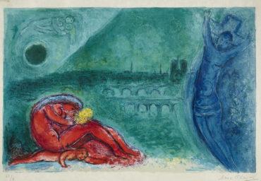 Marc Chagall-Quai de la Tournelle, pl. 1, from Regards sur Paris (M. 351; C. bk. 53)-1960