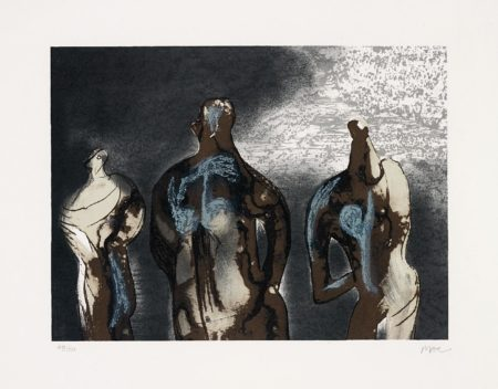 Henry Moore-Figures with Sky Background II-1981