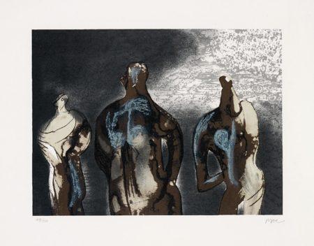 Henry Moore-Figures with Sky Background II-1981