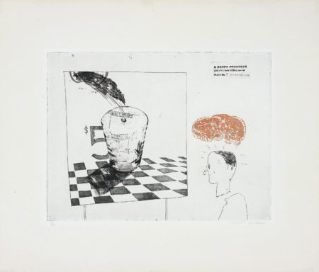 David Hockney-Disintegration, pl. 7 from A Rake's Progress-1963
