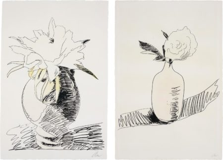 Andy Warhol-Flowers (Hand-Coloured): two plates-1974