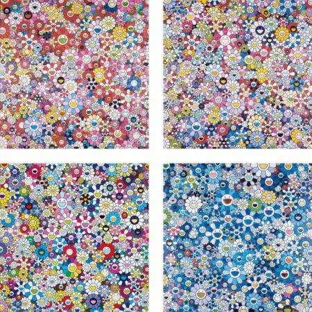 Takashi Murakami-Shangri-La Pink; Bouquet of Love; Shangri-La Shangri-La Shangri-La; and Shangri-La Blue-2016