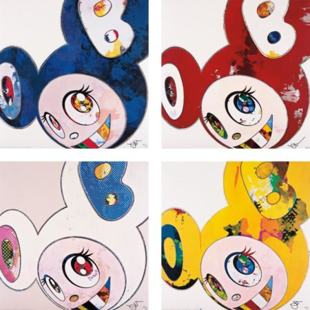 Takashi Murakami-And Then x 6 (Blue: The Superflat Method); And Then x 6 (Red: The Superflat Method); And Then x 6 (White: The Superflat Method, Pink and Blue Ears); and And Then, And Then And Then And Then And Then. Yellow Universe-2013
